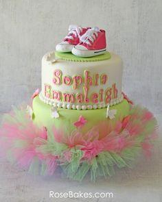 Pink Green Tutu Cake