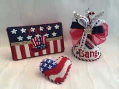 My 4th of July needlepoint! Canvases by Melissa Shirley,Associated Talents and Barbara Bergsten
