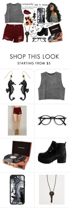 """Life is Tough // Sciamachy"" by sings-reads-draws ❤ liked on Polyvore featuring Tarina Tarantino, Boom Boom, RCA, Casetify and The Giving Keys"