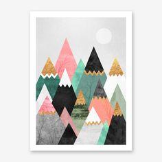 Pretty Mountains Print By Elisabeth Fredriksson - Fy