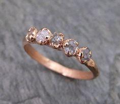 Raw Pink Diamonds Rose Gold Ring Wedding Band Custom One Of a Kind Gemstone Ring Rough Diamond Ring byAngeline