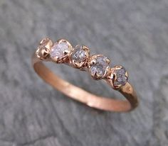 Raw Pink Diamonds Rose Gold Ring Wedding Band by byAngeline