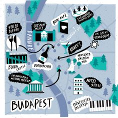 Fatti Burke - Map of Budapest for Cara Magazine, Aer Lingus Travel Maps, Travel Posters, Budapest Travel Guide, Museum Hotel, Hungary Travel, Country Maps, Travel Illustration, Map Design, City Maps