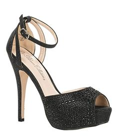 Bridal Formal Evening Party Ankle Strap High Heel Peep Toe Glitter Sandal VICE-126