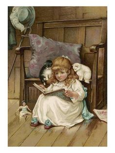 Giclee Print: A Small Girl Reads 'the Story of the Three Kittens' to Her Two Kittens : 24x18in