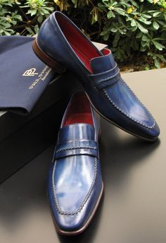 Paul Parkman Men's Loafers Navy Leather Upper and Leather Sole hand painted.