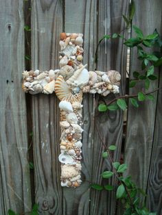 Seashell Wooden Cross with Nautilus Shell by MyHoneypickles, $70.00