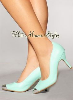 Mint Green Silver Pointy Toe Pumps
