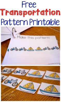 Create lots of fun patterns with this transportation theme free printable. We have used ours with little kids and big kids with just a bit of differentiation.