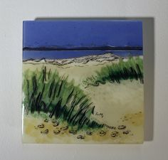 Dunes at Dawn: Miniature by Alice Benvie Gebhart. This fused glass panel is a one-of-a-kind depiction for your wall. All the color in this piece comes from layering cut glass then firing the glass in a kiln. This piece has been processed multiple times in the kiln, giving the work depth and dimension. Textural and gestural lines in gold and black are fired into the glass surface to add detail and movement. The piece is created to be displayed projected from your wall, so to emphasize the…