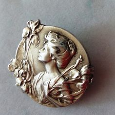 Art Nouveau Rolled Gold?) French Lady with Irises Brooch by E.DROPSY