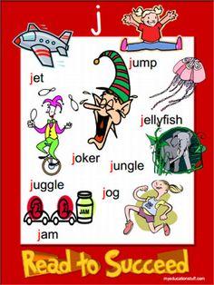 J word list poster - FREEBIE A4 Printable