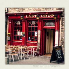 Pub Art - Crimson Red Bar Front in Edinburgh Scotland -   Last Drop - man cave, Scottish pub decor, travel photograph, fathers day via Etsy
