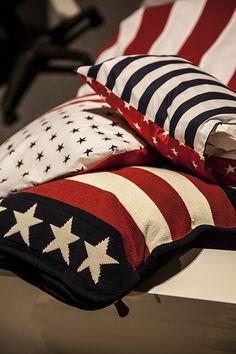 Amerikaanse stijl, kussens, sterren,