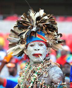 DR Congo fan with an incredible fancy dress #costume #fancy #tribal #bodypaint