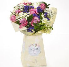 """Be it loved friends, family, or your own special someone, make precious anniversaries memorable with this stunning fresh bouquet, personalised to perfection and delivered direct to their door. """"Happy Anniversary"""" will be printed on the label as well as your personal message."""
