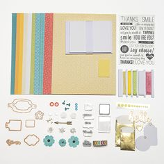 Yellow, Teal, & Coral  A Pop of Color Card Kit - Spellbinders Card Kit of the Month Club