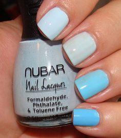 Index to Pinkie: Nubar Baby Blue, China Glaze Moody Blue, Color Club Blue Light, China Glaze Bahamian Escape