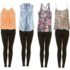 Black leggings-- my favorites are the floral tank and denim