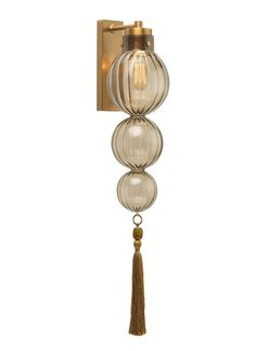 "Special Order Design:  32"" Elegant Smoked Glass Finial Sconce * Brass * Partner Table Lamps, Floor Lamps, Chandeliers & Pendants Available"