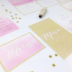 Faire part mariage aquarelle et paillettes doré à personnaliser sur www.mespetitesaffiches.com wedding invitation rose et or