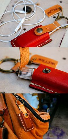 Manly! Ipodflash drive case leather keyring personalized alphabet by rntn, $18.50