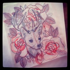 sketch for a painting.  #chihuahua #tattoo #painting #roses