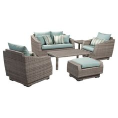 6-Piece Catalina Outdoor Seating Group Set in Bliss Blue at Joss & Main