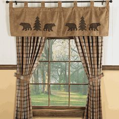 Rustic curtain ideas amazing of country cabin curtains decorating with best cabin curtains ideas on home Cabin Curtains, Rustic Curtains, Window Curtains, Grey Curtains, Bedroom Curtains, Kitchen Curtains, Black Bear Decor, Black Forest Decor, Cabin Homes