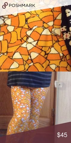 Lularoe TC Candy Corn leggings LuLaRoe tall and curvy candy corn leggings. New. Tried on only. Part of the LuLaRoe 2016 Halloween capsule collection. TC have been really hard to find this year. I wanted a matching set for my kiddo, and just couldn't find them. LuLaRoe Pants Leggings