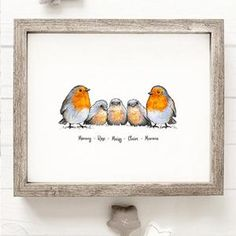 Robin Family Name Prints – Teenie Wee Baby Robin, Vibrant Colors, Colours, Nursery Decor, First Love, How To Draw Hands, Presents, Names, Drawings
