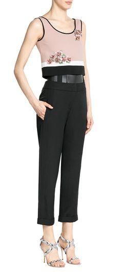 ALBERTA FERRETTI Cropped top with Embellishment DONNA KARAN NEW YORK Tailored Pants #Stylebop