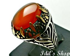 Men's Ring, Turkish Ottoman Style Jewelry, 925 Sterling Silver, Authentic Gift, Traditional Handmade, With Honey Agate Stone, US Size 9.5