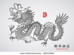 illustration japanese dragon - Google Search