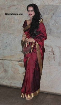 gorgeous Rekha in maroon silk Saree