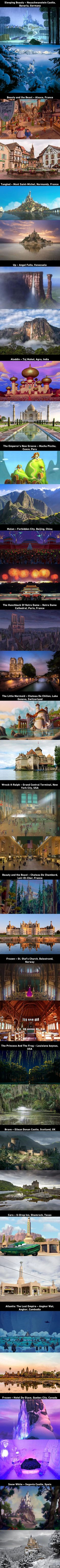 18 Beautiful Locations That Inspired Disney Movies 18 hermosos lugares que inspiraron a Disney Moives Disney Pixar, Film Disney, Disney Memes, Disney Quotes, Disney And Dreamworks, Disney Life Hacks, Disney Frozen, Disney Characters, Disney Love