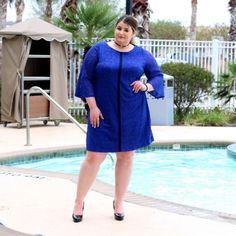 Gaby Skye Womens Plus Size Bell Sleeve Lace Shift Dress Party Dress