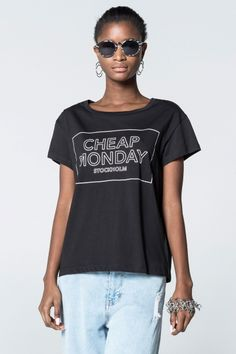 Cheap Monday Image 1 of Have Thin Logo Box Tee in Black