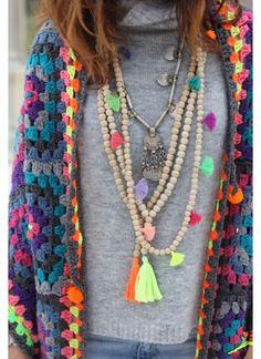 Chal crochet , collares Belao