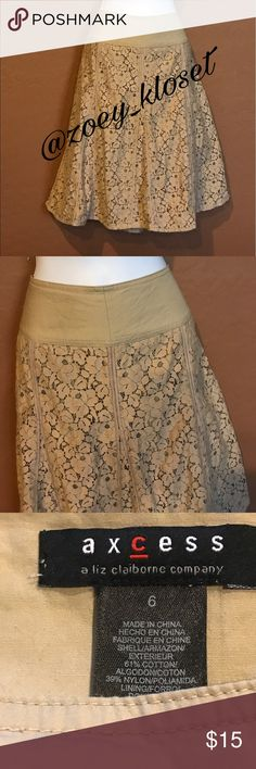 Tan Lace Over Flare Skirt Excellent Condition, Lined, Side Zipper, Flare. Axcess Skirts A-Line or Full