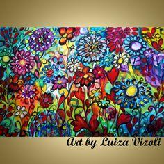 GYPSY FLOWERS Boho Style-Original Modern Whimsical Boho Edwardian Fantasy Flowers Garden Floral Landscape Spring Summer Painting Modern Wall Decor- by artist Luiza Vizoli - www.artbyluizavizoli.com
