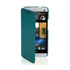 KLD Brand New Snap-on Thin Side Flip Synthetic Leather Cover Case for Verizon HTC One HTC6445LVW HTC M7 (Green)