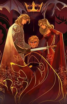 Beautiful imagery and representation of the relationship between Cersei, Jaime and Tyrion Lannister. Notice that Cersei has the blade aimed downward at Tyrion, but Jaime makes sure that it is sheathed and unable to harm him.