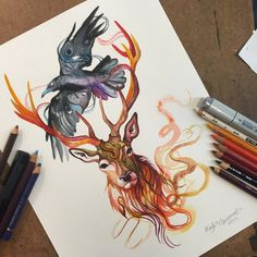 361- Stag and Raven Commission by Lucky978 on DeviantArt