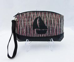 Sailcloth Wristlet Sailboat Red Carbon Fiber Sailcloth Bag