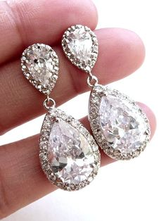 Bridal Earrings Kim Kardashian Inspired High by JCGemsJewelry, $45.00