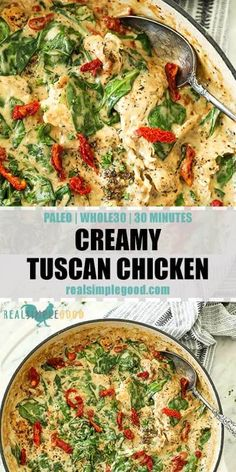 Tuscan Chicken (Paleo + - This Paleo + creamy tuscan chicken is an easy one pan meal. It's dairy-free, gluten-free -Creamy Tuscan Chicken (Paleo + - This Paleo + creamy tuscan chicken is an easy one pan meal. It's dairy-free, gluten-free - Healthy Recipes, Whole Food Recipes, Paleo Food, Easy Paleo Dinner Recipes, Easy Whole 30 Recipes, Whole 30 Crockpot Recipes, Whole Foods, Eating Paleo, Whole 30 Meals