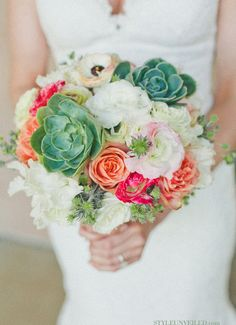 Coral & White Bouquet with Succulents