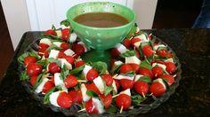 Braceys birthday apps. My fresh mozz tomato basil skewers app with balsamic vinaigrette dressing to dip