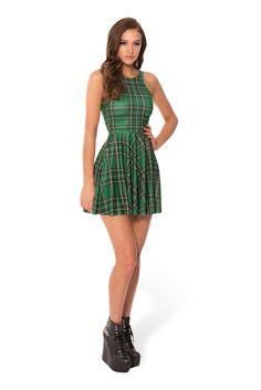 Tartan Green Reversible Skater Dress | Black Milk Clothing